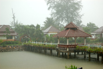 Heavy tropical rain at the resort, Koh Chang, Thailand