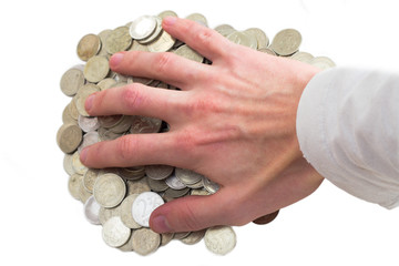 The hand with greed reaches for coins