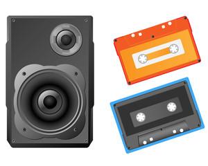 Musical speaker and audiocassette vector illustration.
