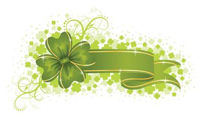 Green banner.