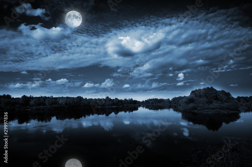 Moonlight over a lake