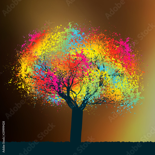 Zdjęcia na płótnie, fototapety na wymiar, obrazy na ścianę : Abstract colorful tree. EPS 8