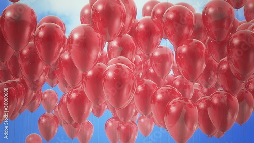 Red balloons flying up