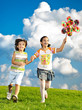 Fantastic scene of happy children running and playing carefreely