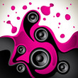 Abstract fluid background with speakers.