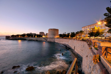 The Royal Spur Tower (Sulis Tower) at sunset, Alghero, Sardinia