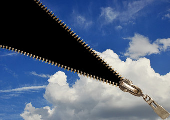 Zipper on blue sky