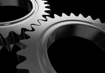 3D metal gears on black background 03