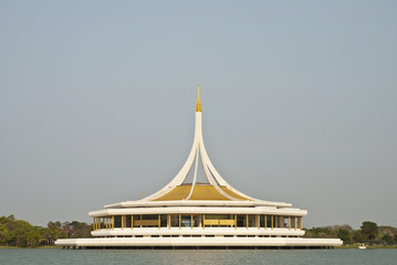 Pavilion on water Rama 9 Garden Bangkok in Thailand