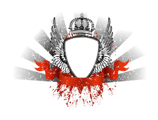 Vector image frame with wings and crown