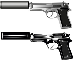 Vector image of two pistols on white background