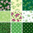 set of various vector seamless floral pattern