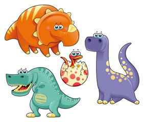 Group of funny dinosaurs. Vector isolated characters.