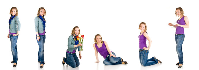 Young caucasian girl different poses isolated