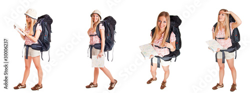 Girl with backpack isolated on white different poses