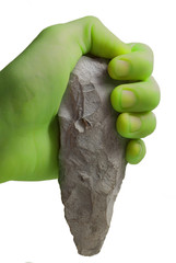 The green person holds a chisel .