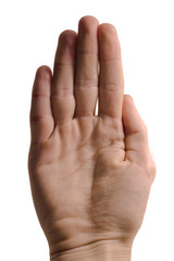 Pinching hand gesture isolated over white background