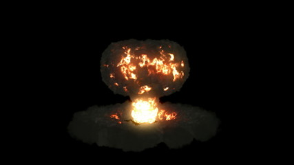 Explosion with mushroom cloud and slow motion, Alpha