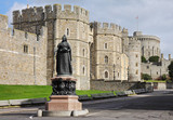 Windsor Castle in England with Statue of Queen Victoria