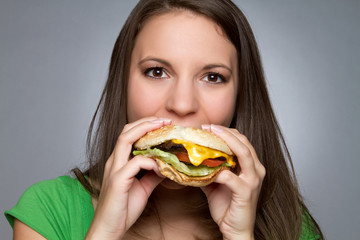 Girl Eating Hamburger