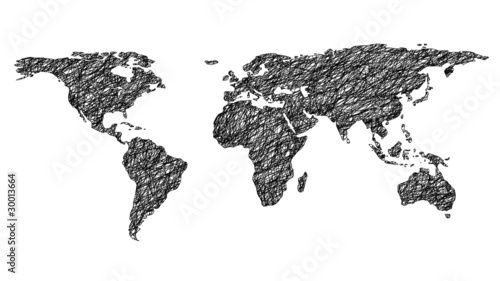 drawn world map isolated on white background