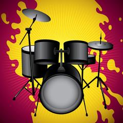 Stylized illustration of drum set.