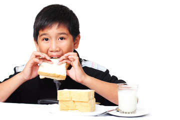 kid with sandwich
