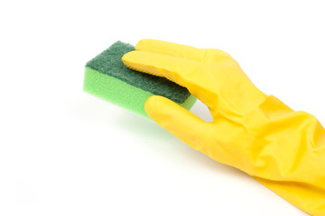 Hand in yellow glove with sponge