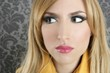 fashion retro blond woman portrait makeup detail