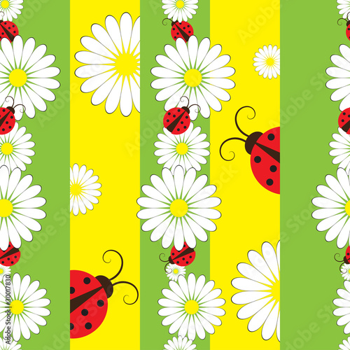Poster Lieveheersbeestjes Striped seamless pattern with ladybirds