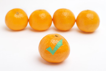 Tangerine in front in focus with green tick mark on white