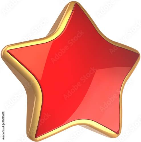 Star shape rating symbol red with golden border. Best choice