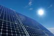 canvas print picture - Monokristalline Solarmodule vor sonnigem Himmel