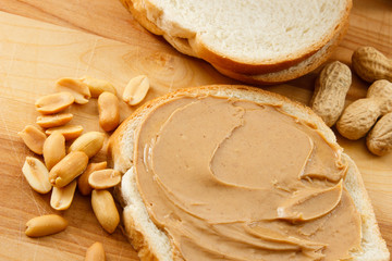 Peanut Butter on Bread with Peanuts