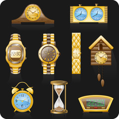 Watches black backgrond icon set