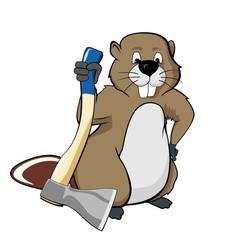 Beaver holding an ax (vector illustration)