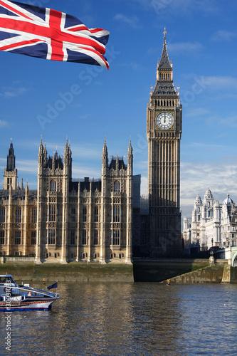 Fototapeta Big Ben with flag of England, London, UK