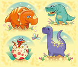 Group of funny dinosaurs. Vector isolated characters