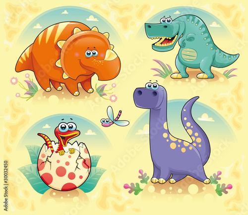 Keuken foto achterwand Dinosaurs Group of funny dinosaurs. Vector isolated characters