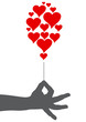 Logo  hand and balloon with hearts # Vector