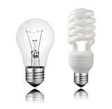 Normal and Saver Lightbulb with Reflection Isolated on White poster