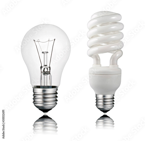 Normal and Saver Lightbulb with Reflection Isolated on White