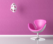 pink interior wall with copy space