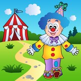 Smiling clown with circus tent poster