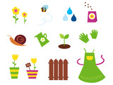 Spring, garden & agriculture symbols and elements. VECTOR