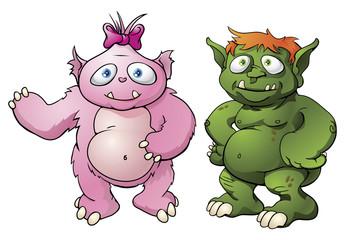 Cute monster cartoon characters