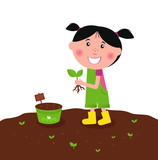 Happy kid is planting small plants on farm. VECTOR