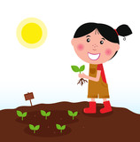 Gardening girl with green plant in the garden. VECTOR