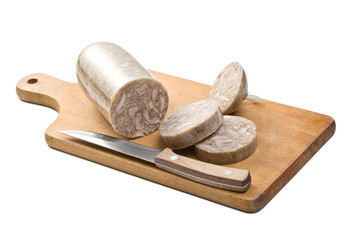 headcheese sausage on wooden board