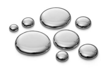 Mercury drops isolated on white. Infinite depth of focus
